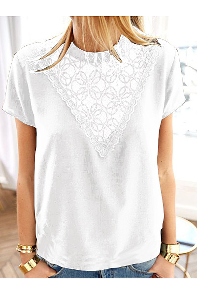 Casual Lace Patchwork Short Sleeve T-Shirt
