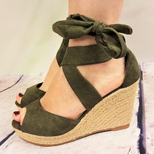 38f5046b3e9e 24 Plain High Heeled Velvet Ankle Strap Peep Toe Casual Date Wedge Sandals