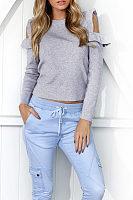 Round Neck  Cutout Flounce  Plain Sweaters