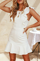 Round Neck  Backless Flounce  Plain  Extra Short Sleeve Bodycon Dresses
