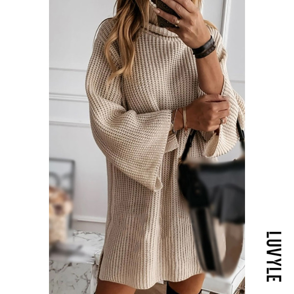 Stand collar casual knit dress - from $33.00