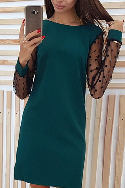 Round Neck  Patchwork  Long Sleeve Casual Dresses