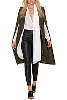 V Neck  Poncho  Plain Outerwear
