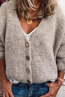 V Neck Single Breasted Plain Sweater