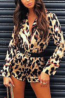 Fold Over Collar  Leopard Printed  Long Sleeve  Playsuits