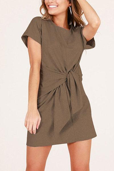 Round Neck  Belt  Short Sleeve Casual Dresses