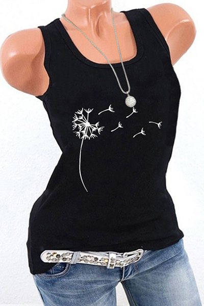 Print Sleeveless T-shirt