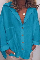 A Lapel  Fashion  Plain  Long Sleeve  Top*1 Shirts & Blouses