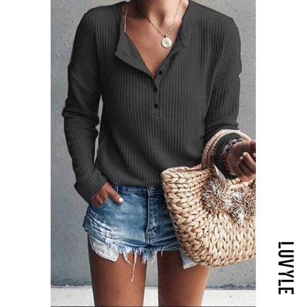 Black Jewel Neck Long Sleeve Pure Color T-Shirt Black Jewel Neck Long Sleeve Pure Color T-Shirt