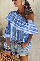 Sexy Open Shoulder Stripe Print Loose Irregular Shirt