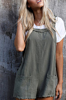 Kangaroo Pocket  Plain  Sleeveless  Playsuits