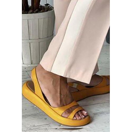 Plain  Peep Toe  Casual Travel Flat Sandals
