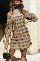Off Shoulder  Striped  Lantern Sleeve  Long Sleeve Casual Dresses