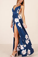 Spaghetti Strap  Backless High Slit  Floral  Short Sleeve Maxi Dresses