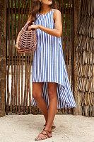 Round Neck  Asymmetric Hem  Striped  Sleeveless Maxi Dresses