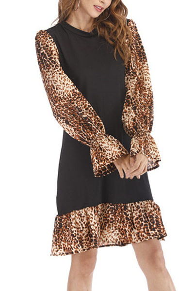 Round Neck  Leopard Patchwork  Long Sleeve Casual Dresses