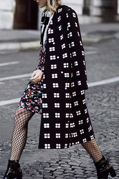 Fashion Plaid Long Sleeve Outwear