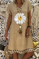 V-neck fashion sun flower casual dress
