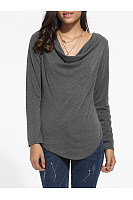 Asymmetrical Hems Cowl Neck Cotton Plain Long-Sleeve-T-Shirt