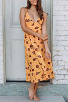Spaghetti Strap  Backless  Belt  Floral Printed  Sleeveless Maxi Dresses