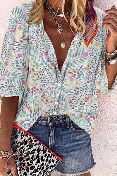 V Neck Leaves Printed Casual Blouse