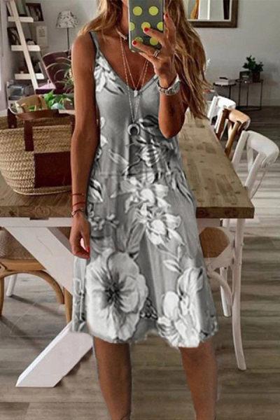 Vacation V-neck printed A-line dress