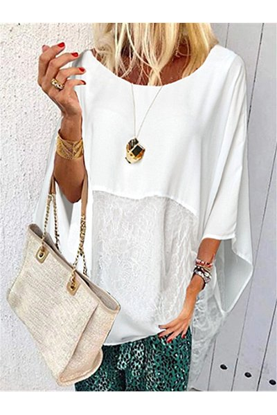 Fashion Lace Stitching Irregular Casual Blouse
