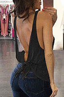 Round Neck  Backless  Plain  Vests