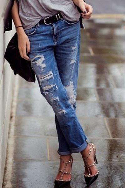 Patch Pocket  Decorative Hardware  Light Wash Jeans