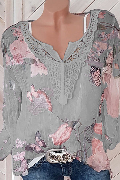 V Neck  Patchwork  Lace Printed  Long Sleeve Blouses
