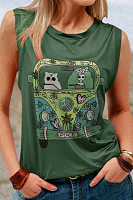 Cartoon Car Round Neck Sleeveless Top