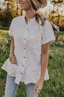 Crew Neck  Single Breasted  Plain  Blouses