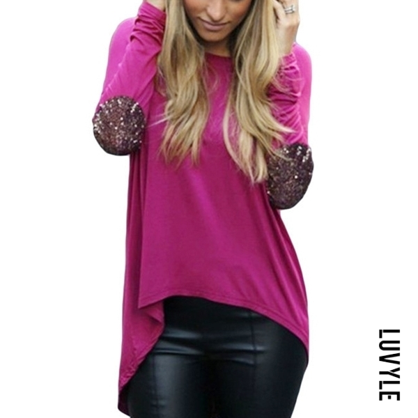 Purple Fascinating Paillette Asymmetrical Hems Long-Sleeve-T-Shirt Purple Fascinating Paillette Asymmetrical Hems Long-Sleeve-T-Shirt