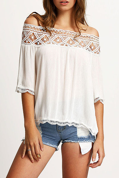 Off Shoulder  Patchwork  Hollow Out Blouses