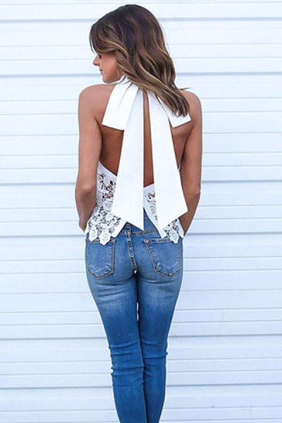 Round Neck  Backless Bowknot  Plain T-Shirts