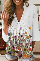 Casual Floral Print V-neck 3/4 Sleeve T-shirt