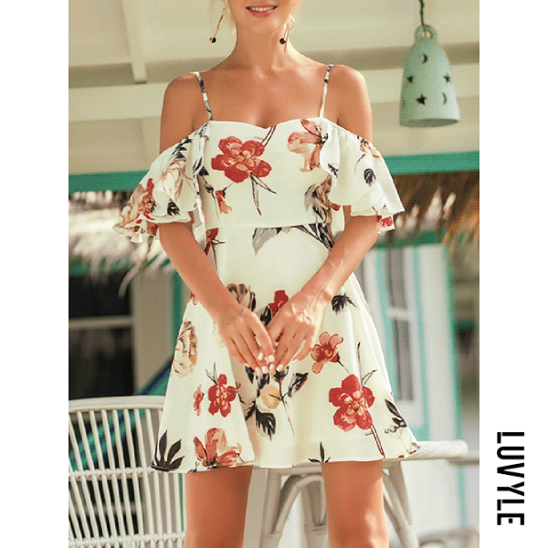 White Open Shoulder Flounce Floral Printed Mini Skater Dress White Open Shoulder Flounce Floral Printed Mini Skater Dress