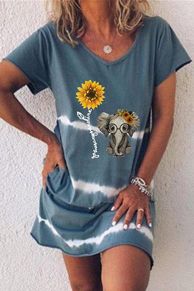 Casual Gradient Elephant Print V-neck Dress