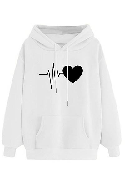 Leisure electrocardiogram love printing hooded sweatshirt