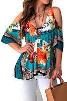 Open Shoulder  Backless  Floral Printed T-Shirts