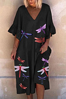 Casual Dragonfly Print Lotus Leaf Sleeve Dress