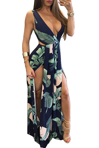 Deep V Neck  Batwing Cutout High Slit  Printed Maxi Dresses