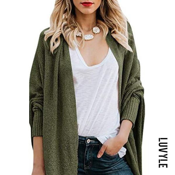 Long Batwing Sleeve Plain Knitting Fashion Cardigans