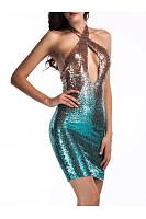 Halter  Glitter  Gradient  Polyester Party Dress