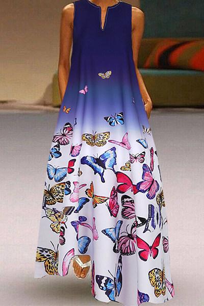 Plus Size Butterfly Print Sleeveless Maxi Dress