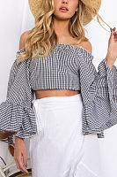Off Shoulder  Exposed Navel  Gingham  Blouses