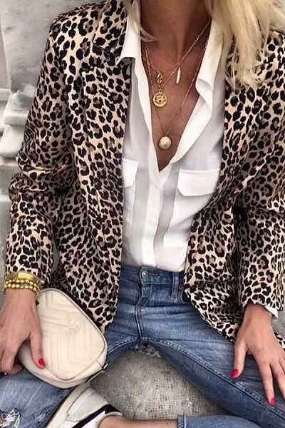 Women's Leopard Print Long Sleeve Tunic Blazers
