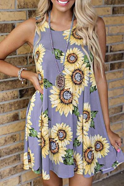 2020 Summer Casual Sunflower Printed Dress