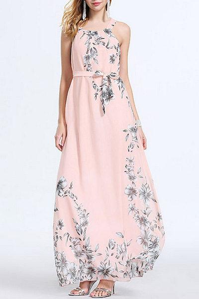 Chiffon Halter Printed Sleeveless Maxi Dresses
