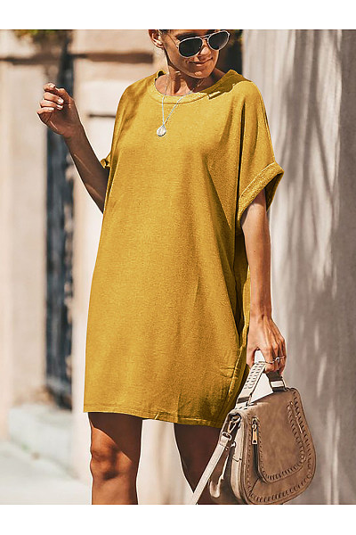 Round Neck Loose Fitting Casual Dresses